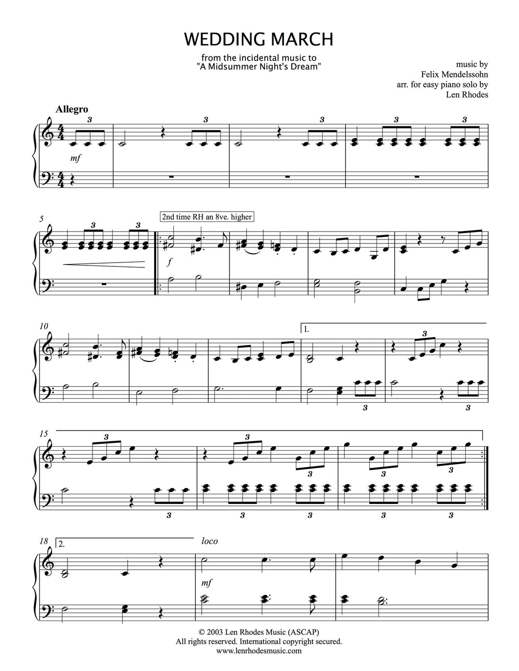 Mendelssohn's Wedding March - (Easy Version) for piano solo