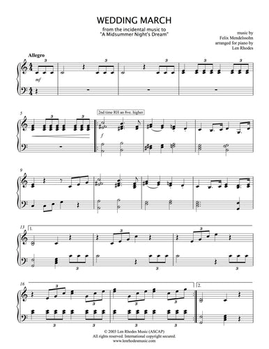 Mendelssohn - Wedding March, for piano solo