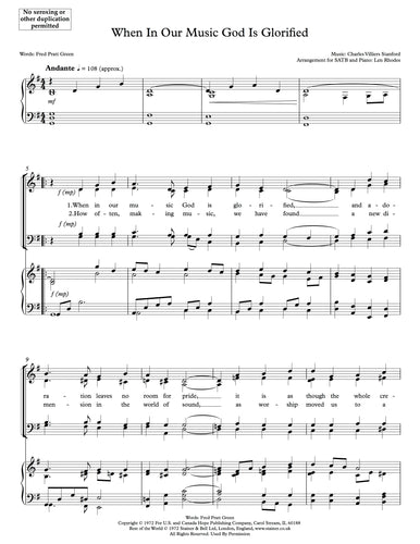 When In Our Music God Is Glorified (Stanford, Pratt) - contemporary anthem for SATB