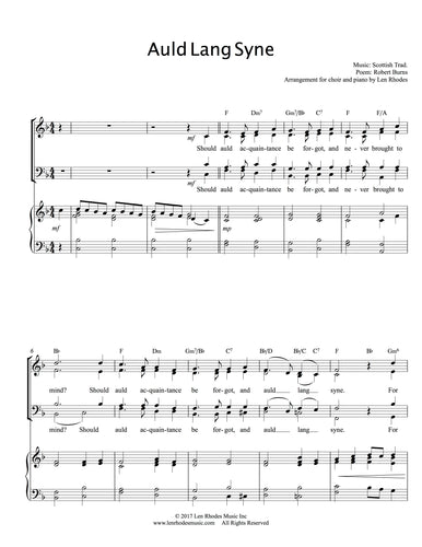 Auld Lang Syne - for SATB Choir and Piano/Guitar
