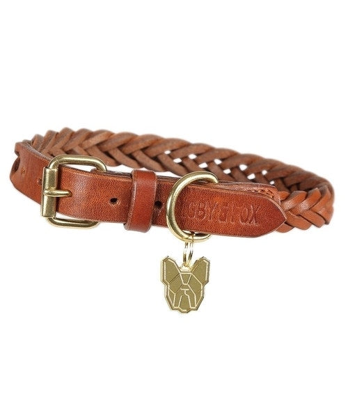 Digby & Fox Plaited Leather Dog Collar
