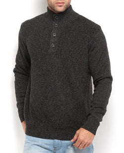 Nautica Men's Four Button Cable Knit Mock-Neck Sweater - Charcoal