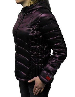 Andrew Marc Women's Packable Lightweight Down Hooded Jacket - Mulberry