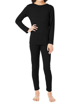 32 Degrees Heat Kids Long Sleeve Crew Neck and Legging Set Black