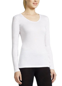 32 Degrees Weatherproof Women's Long Sleeve Scoop Neck -White