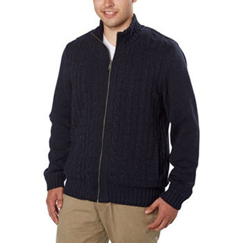 Boston Traders Men's Cable Knit Sweater with Sherpa Lining - Navy