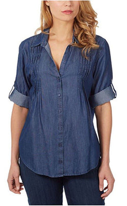 Gloria Vanderbilt Women's Giselle Pintuck Roll-tab Blouse - Medium Blue
