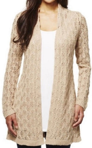 Leo And Nicole Ladies Pointelle Cardigan - Linen