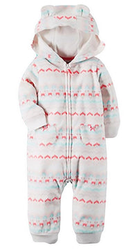 Carter's Baby Girl Fleece Jumpsuit With Hood Pink/White