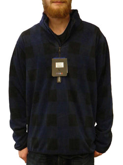 Hawke & Co Mens Quarter Zip Fleece Plaid Pullover