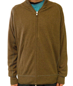 Luigi Baldo Men's Full Zip Cashmere Sweater w/Contrast