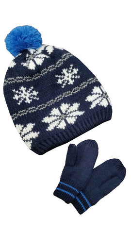 Carter's Boys Winter Hat and Glove Set Blue Snowflake 2T-4T