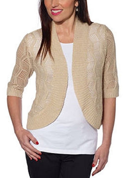 Leo And Nicole Women's Crochet Open Weave Knit Open Cardigan Shrug - Oatmeal