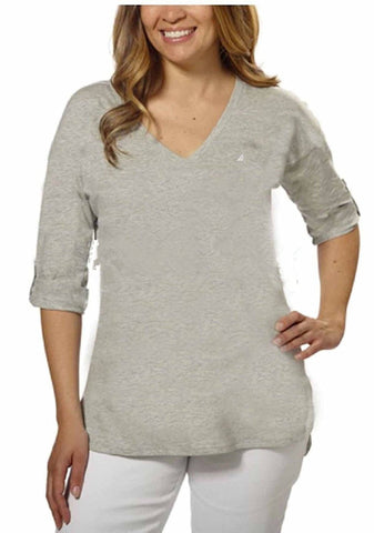Nautica Ladies' V-Neck Roll-Tab Tee