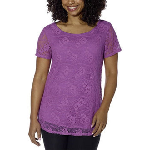 Leo & Nicole Crochet Lace Overlay Top - Many Colors!