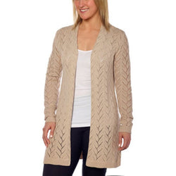 Leo & Nicole Women's Long Sleeve Knit Open Cardigan - Linen