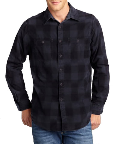 Tailor Vintage Men 2 in1 Reversible Button Down Flannel Shirt Corduroy Navy Med