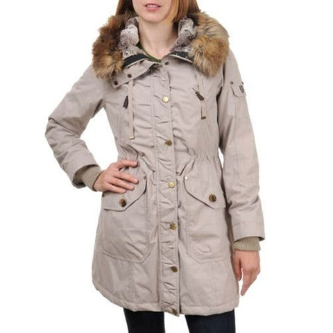 1 Madison Ladies' Anorak Jacket W/ Detachable Hood - New Stone  Small (5/6)