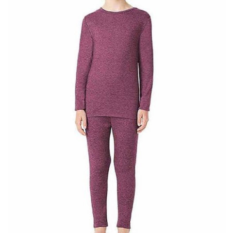 32 Degrees Heat Girls Long Sleeve Crew Neck and Legging Base Layer Set - Heather Fiction Fig
