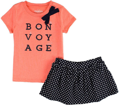 OshKosh B'gosh Little Girls 2-Piece Skort Set -  Coral/Navy Blue