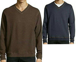 Tailor Vintage Reversible Long Sleeve V-Neck Pullover, Brown/Navy