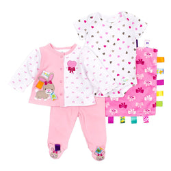 TaGgies Baby Girls 4pc Outfit and Blanket Set - Bunny
