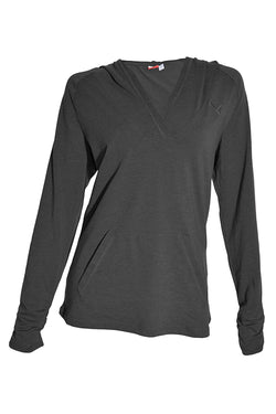 Puma Women's Hooded Lifestyle Pullover Tee - Dark Grey Heather