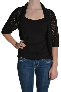 Leo & Nicole Knit Open Cardigan - Black