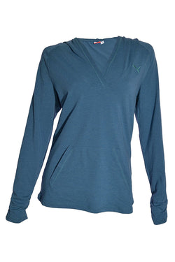Puma Women's Long Sleeve Hooded Tee - Blue Sapphire Heather