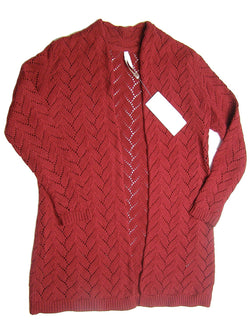 Leo & Nicole Women's Long Sleeve Knit Open Cardigan - Biking Red