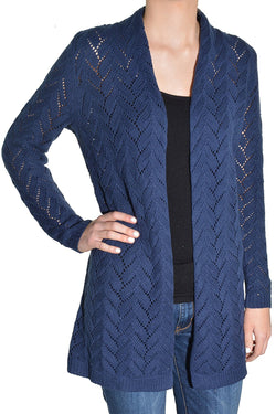 Leo & Nicole Women's Long Sleeve Knit Open Cardigan - Inkspot