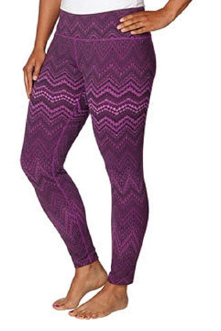 Tuff Athletics Ladies' Printed Active Yoga Legging - Magenta Zig Zag