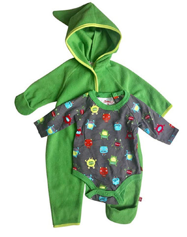 Zutano Baby Boy Hooded Fleece Bodysuit Elf Romper & Long Sleeve Snap Onesie Set - Apple
