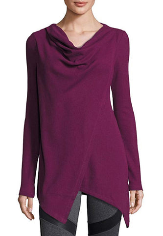 Marc New York Andrew Marc Women's Performance Asymmetric Long Sleeve Tunic - Wine