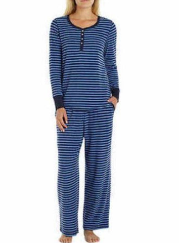 Nautica Women's 2 Piece Microfleece Pajama Set - Navy Blue Stripe