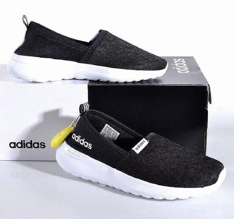 Adidas Women's Cloudfoam Lite Racer Slip On Running Shoes Black New!