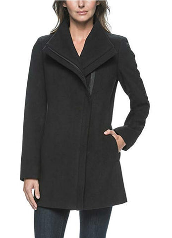 Andrew Marc Ladies Faux Wool Asymmetrical Collar Zip Up Jacket - Black