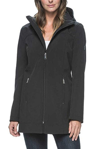 Andrew Marc Ladies Long Softshell Jacket - Black