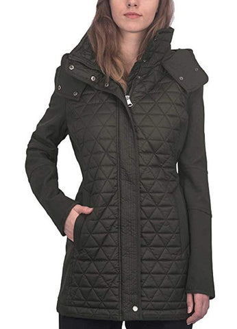 Marc New York by Andrew Marc Women's Pyramid Quilted Softshell Hooded Jacket - Black