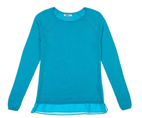 DKNY Jeans Womens Layered Look Long Sleeve Sweater - Turquoise