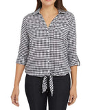 Jones New York Women's Front Tie Button Down Blouse Top - Baby Gingham Black