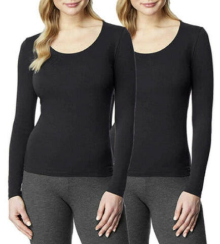 32° Degrees Heat Women's 2pk Long Sleeve Scoop Neck Base Layer Top Black