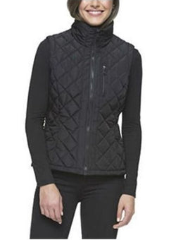 Andrew Marc Womens Quilted Vest with Ribbed Knit side Panels - Black