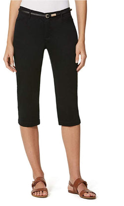 Gloria Vanderbilt Ladies' Anita Belted Capri Casual Summer Pants - Black