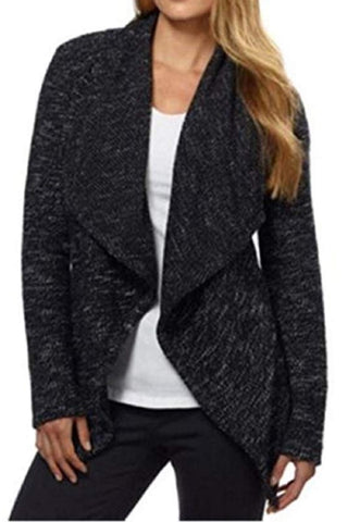 BNCI Womens Tweed Drape Front Shawl Collar Cardigan - Black Mix