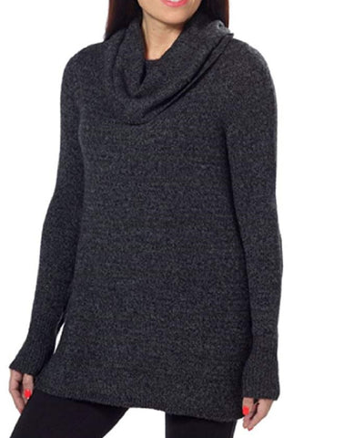 DKNY Jeans Womens Cowl Neck Tunic Pullover Sweater - Black Heather
