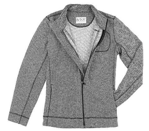 Marc New York Women's Fleece Lined Performance Full Zip Jacket - Black/White Herringbone