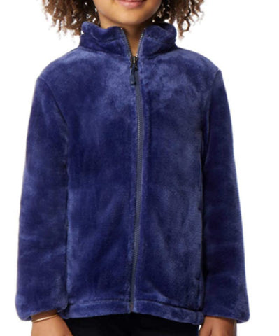 32 Degrees Heat Girl's Plush Zip-Up Jacket Galaxy Blue