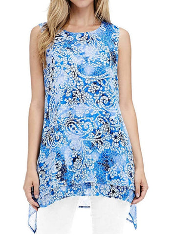 Fever Womens Double Layer Sleeveless Blouse - Blue Mosaic Glass