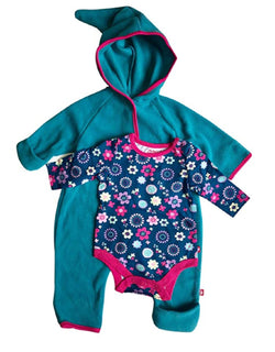 Zutano Baby Girl Hooded Fleece Bodysuit Elf Romper & Long Sleeve Snap Onesie Set -Blue
